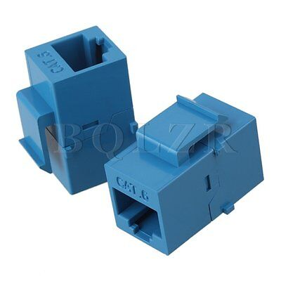 5pcs Female to Female RJ45 UTP Keystone Wall Jack Coupler Adapter Cat6 Blue