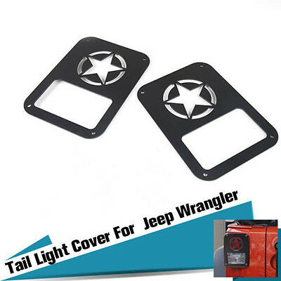 Pair Rear Tail Light Lamp Cover Trim Protector Five Stars Logo For Jeep Wrangler