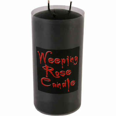 Large Weeping Rose 3 Wick Candle Creepy Halloween Blood Candle Black Red Gothic