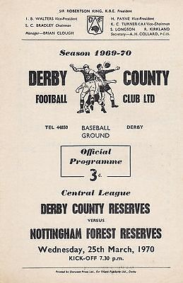 DERBY COUNTY v NOTTINGHAM FOREST RESERVES ~ 25 MARCH 1970