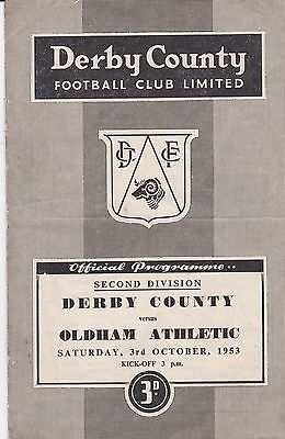 DERBY COUNTY v OLDHAM ATHLETIC ~ 3 OCTOBER 1953 ~ FREE POSTAGE