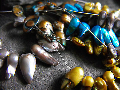 BEAD SETS druzy fresh water PEARL shell turquoise blue brown grey olive green 10