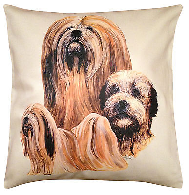 Lhasa Apso Group Cotton Cushion Cover - Cream or White Cover - Gift Item