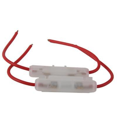 Set of 2pcs Motorcycle In-Line Glass Tube 15 AMP Lead Wire Fuse Holder Box