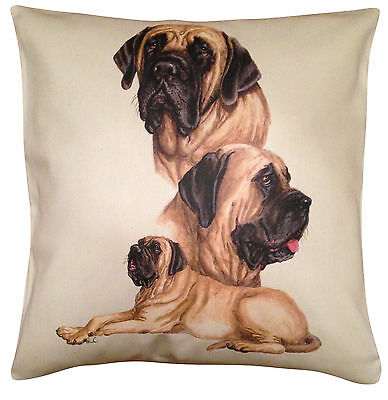 Mastiff Group Cotton Cushion Cover - Cream or White Cover - Gift Item