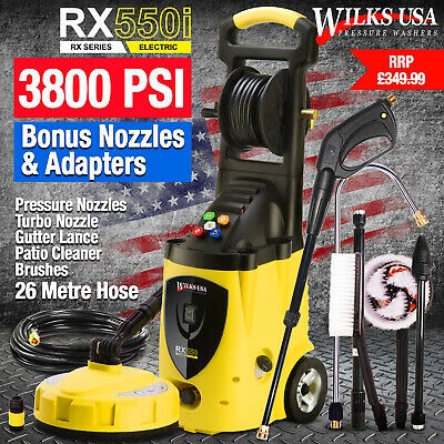 Electric Pressure Washer - 3800 PSI/262 Bar Patio Jet Cleaner - WILKS-USA RX550
