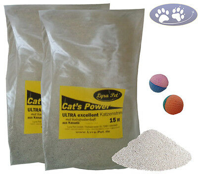 30 Liter Cats Power ULTRA excellent Katzenstreu Babypuder Duft+ 2 Moosgummibälle