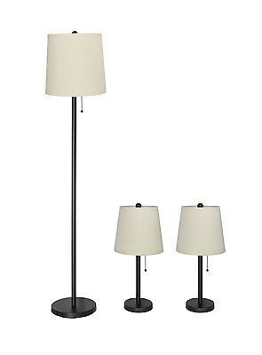 3-piece Table & Floor Lamp Set in Matte Black with Natural Linen Lamp Shades