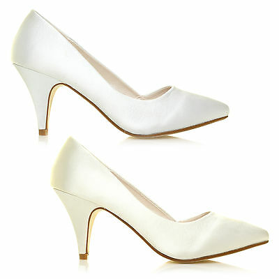 New Womens Ivory & White Satin Mid Heel Bridal Wedding Prom Party Shoes All Size