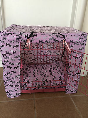 Blue / Pink / Red Scotties Puppy / Dog Crate Cover  / Made To Order / Small