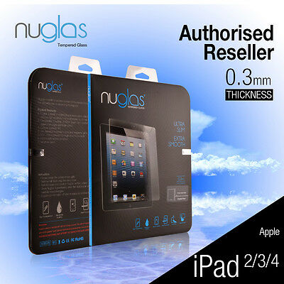 Genuine Nuglas Tempered Glass Screen Protector for Apple iPad 2 3 4
