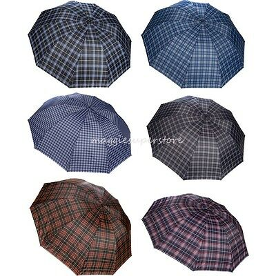 "50"" Vintage Tartan Plaid Umbrella Women Anti-UV Compact Folding Rain Parasol"
