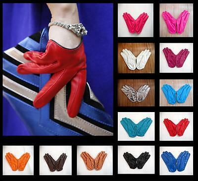 Lady PU Leather Full Five Finger Half Palm Warm Dance Party Gloves Mittens U149