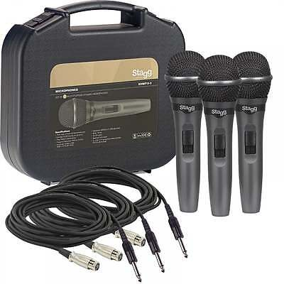 Stagg Professional Dynamic Vocal Microphone Kit 3 Microphones, Mic Leads & Case