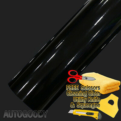 "120"" x 60"" Gloss Black Vinyl Film Wrap Sticker Decal Air Bubble Free 10ft x 5ft"