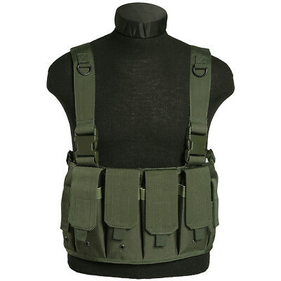 Military Airsoft Tactical Mag Carrier Combat Chest Rig Army Pouches Police Olive