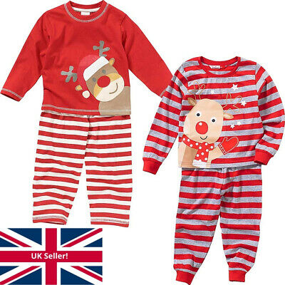 Boys Girls Baby Childs Cute Christmas Reindeer Novelty Striped Pyjamas Red Grey