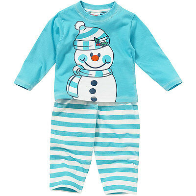 Boys Girls Baby Childs Cute Christmas Snowman Novelty Striped Pyjamas Blue White