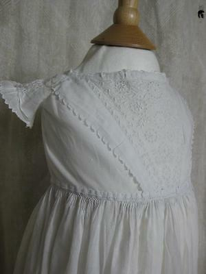 Antique Victorian Christening Gown- Pretty Whitework & Hand Embroidered Hem