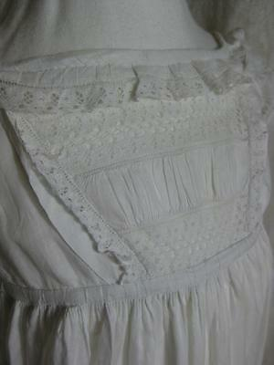 Tiny Antique Victorian Christening Gown- Pintucks & Leavers Lace