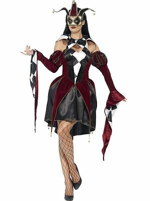 Adult Ladies Gothic Venetian Harlequin Costume Halloween Fancy Dress Outfit
