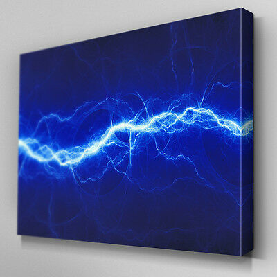 AB523 Electric Spark Abstract Blue Canvas Wall Art Ready to Hang Picture Print