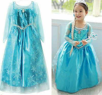 Frozen Elsa Costume Disney Princess Girls Child Fancy Outfit Long Dress 100-140