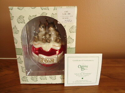 Fitz & Floyd Charming Tails Glass Ornament A Love For All Seasons NEW w/ COA