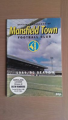 Mansfield Town V Bolton Wanderers 1989-90