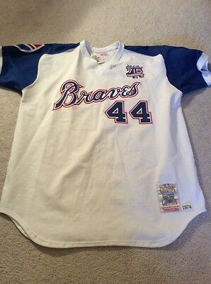 best service 9cb95 b8ed3 NEW! MLB ATLANTA Braves Vintage Authentic Hank Aaron Throwback Jersey Sz  XXL W/T