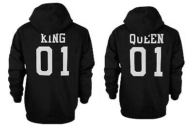 King 01 and Queen 01 Back Print Couple Matching Hoodies Cute Hooded Sweatshirts