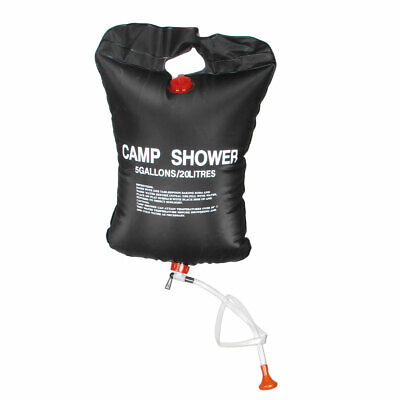 Black 20L 5 Gallons Foldable Portable Solar Hiking Shower Pouch