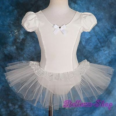 White Puff Sleeves Girl Ballet Tutu Dancewear Pageant Fairy Dress Size 3-4 BA035