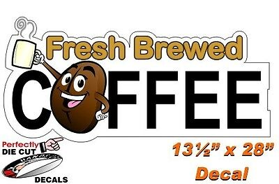 Fresh Brewed Coffee CARTOON 13.5''x28'' Decal for Coffee Wagon or Truck Sign