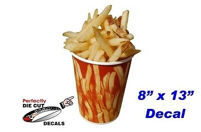 French Fries in a Cup 8''x13'' Decal for Restaurant or Carnival Food Trailer