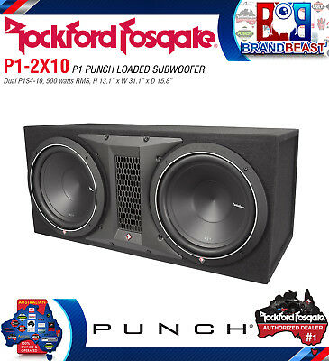 "Rockford Fosgate Punch P1-2x10 Dual 10"" 1000w Loaded Subwoofer Sub Enclosure Box"