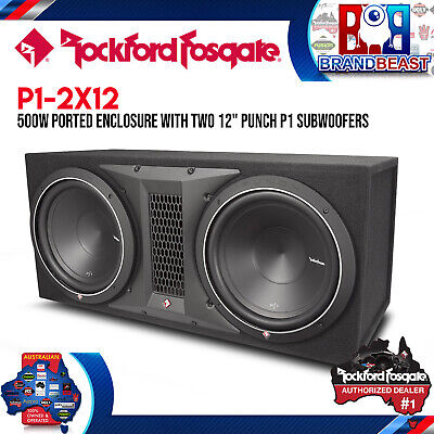 "Rockford Fosgate Punch P1-2X12 Dual 12"" 1000W Loaded Subwoofer Sub Enclosure Box"