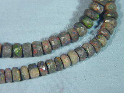 BUTW  Naturally Dazzling Andamooka opal faceted rhondell beads 6 mm 9856A dl