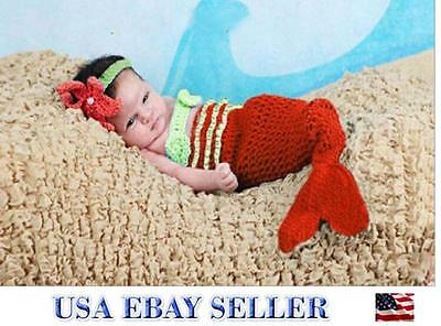 Baby Girl Crochet Handmade RED Mermaid Costume Photography Outfits -