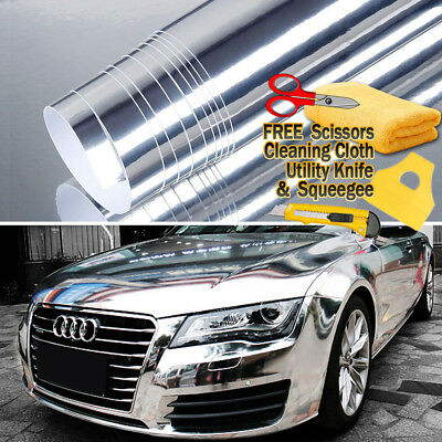 "24"" x 60"" Silver Chrome Mirror Vinyl Film Wrap Sticker Stretchable 2ft x 5ft"
