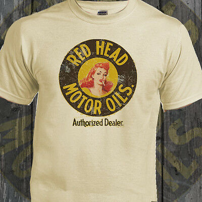 Red Head Motor Oils Americana Car Motorcyles Retro Natural T-Shirt Ideal Gift