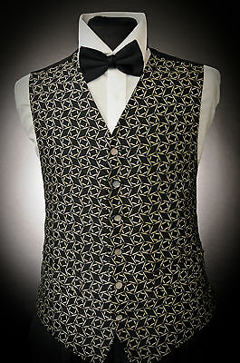 W - 496. Mens Black And Gold Diamond Square Occasion Waistcoat