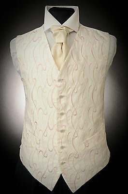 W - 512. Mens Ivory With Gold Pink Wave Occasion Formal Waistcoat