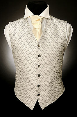 W - 514 Silver Platinum Diamond Dot Formal Wedding Waistcoat