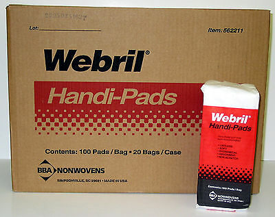 Case of 20 Packages Webril 4 x 4 Cotton Handi Pads, 100/package