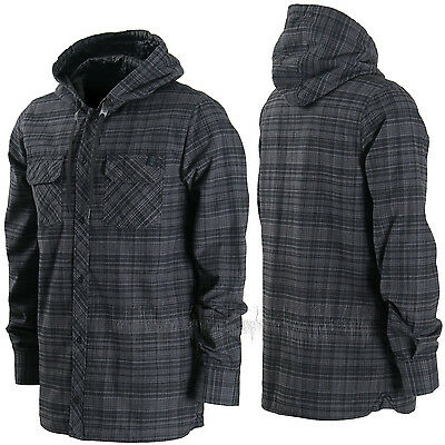 VOLCOM Mens 2016 Snowboard Black Plaid BURL INSULATED FLANNEL Layering JACKET