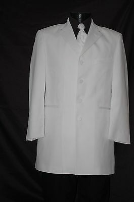 White Dinner Jacket  Western Duster LONG frock Tuxedo Steampunk Tux All Sizes