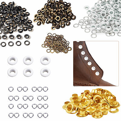 100 x 5mm Eyelets with Washers in White, Silver, Gun Metal, Gold or Bronze Craft