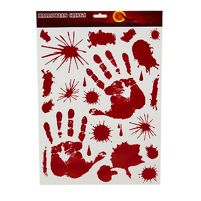 red hand print bloody splatter window cling halloween decal sticker decoration