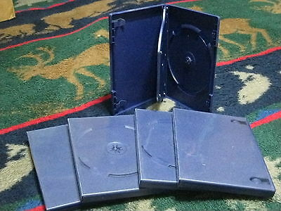 (2nds) blemished--    5xDouble DVD Cases 2 Disc Dual Navy Blue Color Empty 12mm